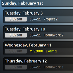 Assignments and exams from multiple calendars are displayed, as well as the current date and time.
