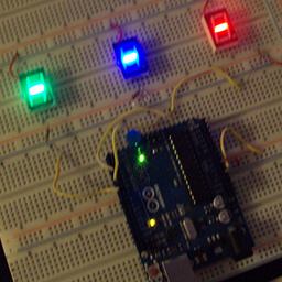 The LEDs connected to the Arduino board.