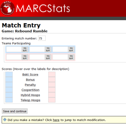 The match editor, in which the final result of game matches can be entered.